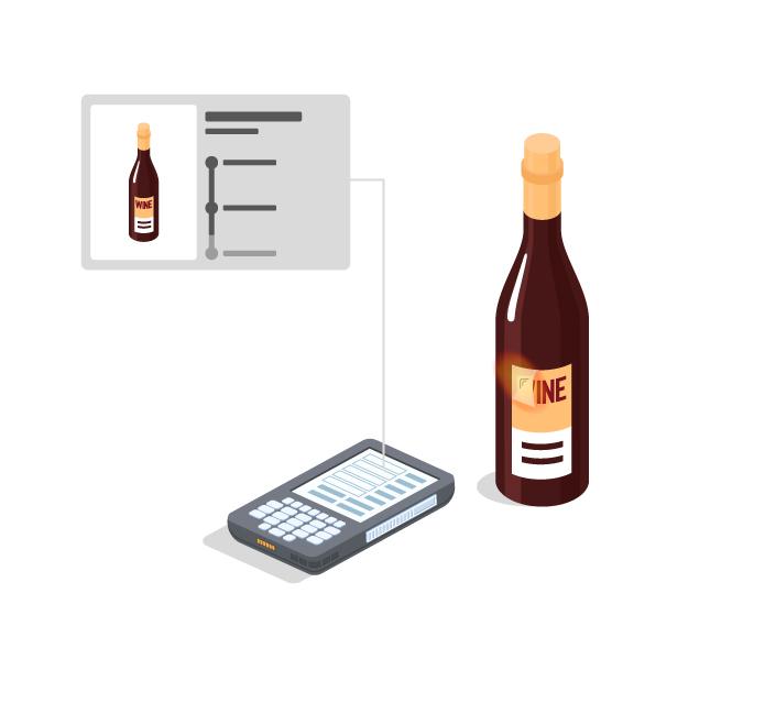 lettura dell'etichetta del vino con inserting